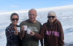 Teresa, Bob and Marj; Summer 2013; Iceland, out on the glacier--drinking glacial water.