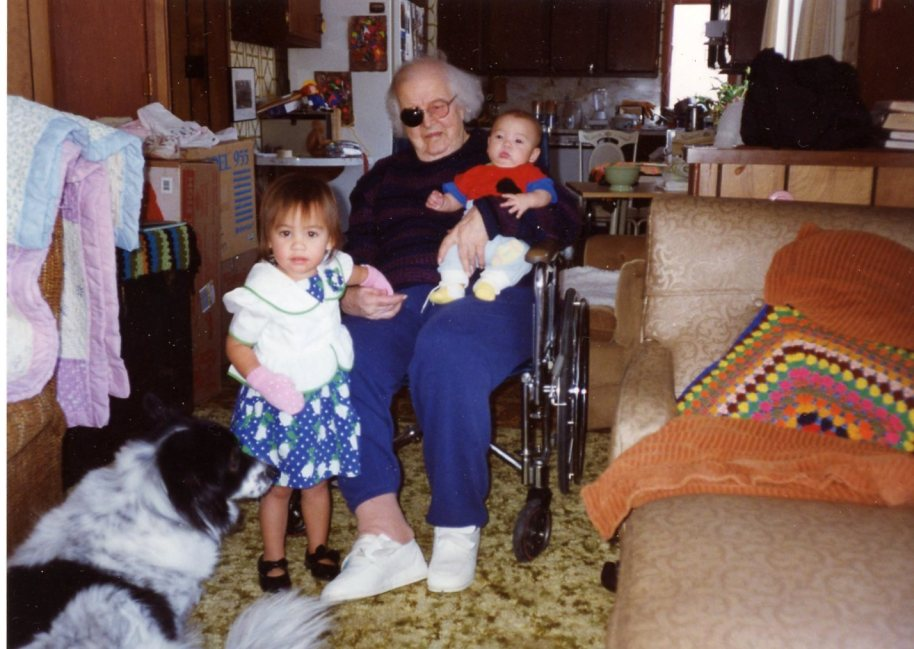 When the California kids came to spend part of a winter in Grand Rapids. Teresa, Steven and Great Grandma in a little place I was house-sitting fronted by a logging road where the trucks passed day after cold miserable day.