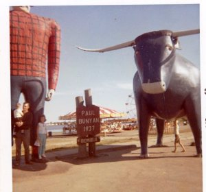 Paul Bunyan and Babe the Blue Ox--whose hoof prints created Minnesota's 10,000 lakes.