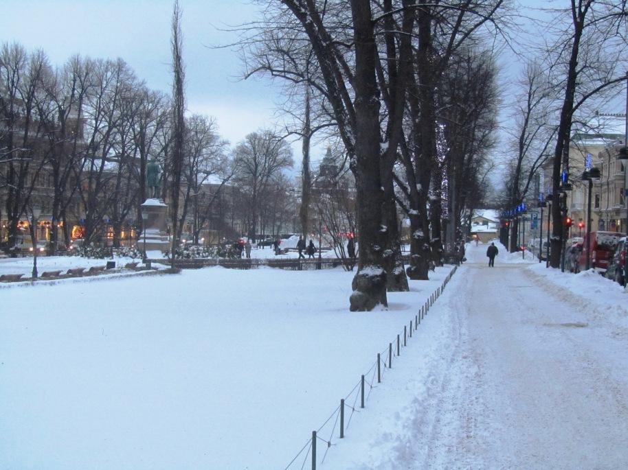 Beautiful snowy slippery Helsinki
