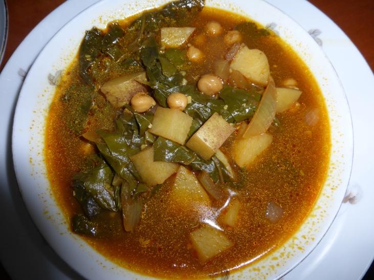 Swiss chard, chick pea and potato stew.