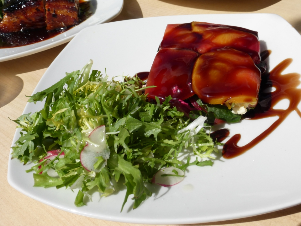Beet Terrine (local beets, goat cheese, spinach, balsamic glaze).