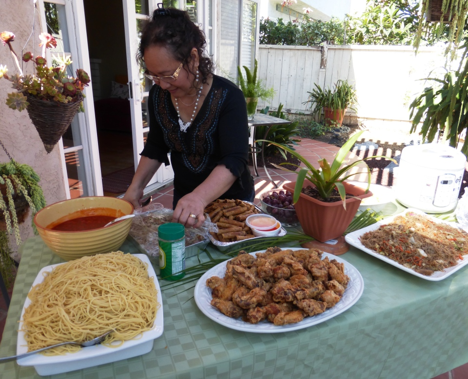 Sandra's sister, Cynthia's birthday feast. With my fave, LUMPIA.