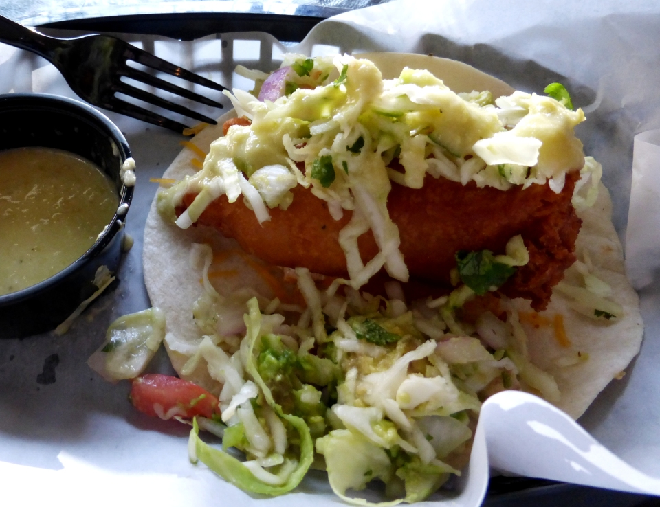 Bluewater Seafood & Market's Calico Amber Beer-Battered Taco (Snapper, homemade pico de gallo & jalepeno cream on a flour tortilla.