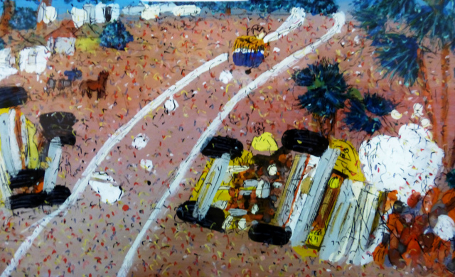 "Only ""travel"" photo I could come up with right now. ""Bus wreck on a Senegalese highway"" art."