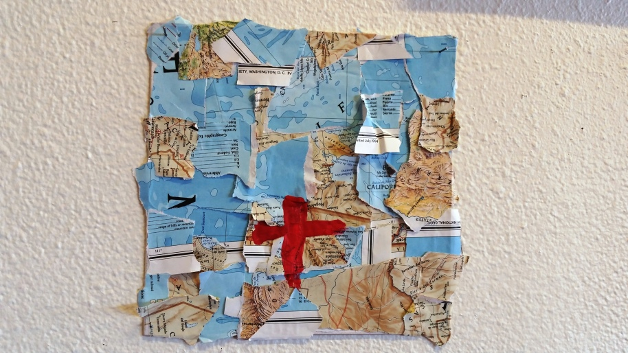 Map by Tim Kinson, North Fourth Art Center artist. A world BIG FRAGMENTED AND A LITTLE RAGGED.