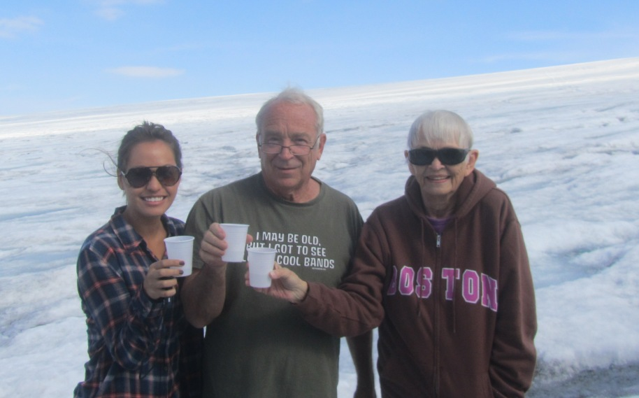 TOASTING OURSELVES AND ICELAND WITH GLACIER WATER, TERESA, BOB AND MARJ
